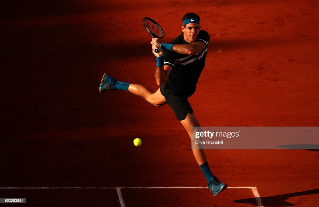 Juan Martin Del Potro of Argentina plays a backhand during the mens singles first round match against Nicolas Mahut of France during day three of the 2018 French Open at Roland Garros on May 29, 2018 in Paris, France.