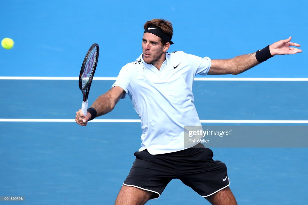 Juan Martin Del Potro of Argentina plays a backhand in his Mens Singles Final match against Roberto Bautista Agut of Spain during day six of the ASB Men's Classic at ASB Tennis Centre on January 13, 2018 in Auckland, New Zealand.