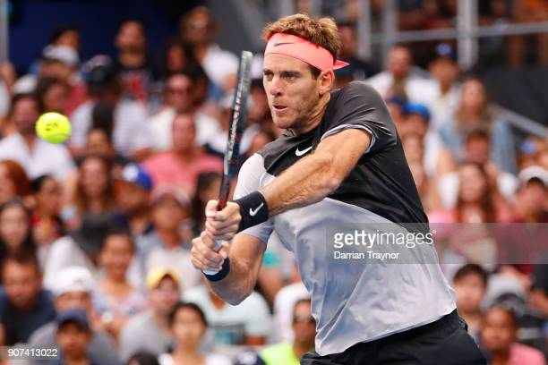 Juan Martin Del Potro of Argentina plays a backhand in his third round match against Tomas Berdych of the Czech Republic on day six of the 2018...
