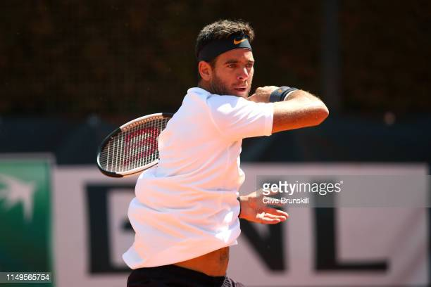 Juan Martin del Potro of Argentina plays a forehand against David Goffin of Blegium in their Men's Singles Round of 32 Match during Day Five of the...