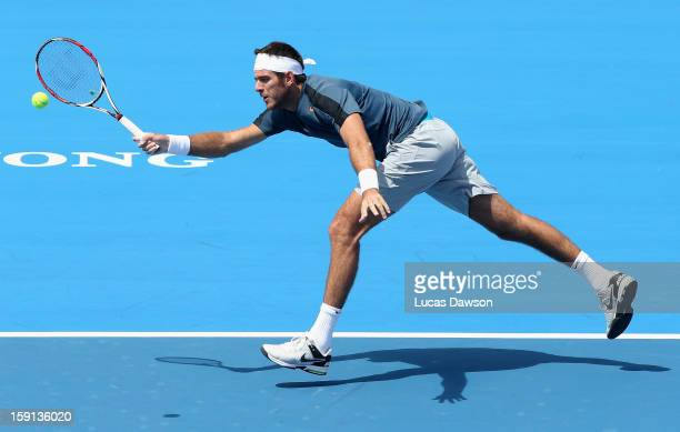 Juan Martin Del Potro of Argentina plays a forehand during his match against Paul-Henri Mathieu of France during day one of the AAMI Classic at...