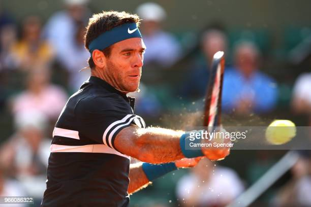 Juan Martin Del Potro of Argentina plays a forehand during his mens singles third round match agains Albert RamosVinolas of Spain during day seven of...