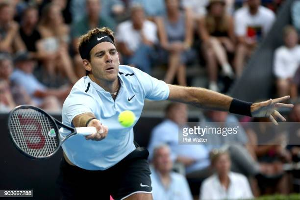 Juan Martin Del Potro of Argentina plays a forehand in his quarterfinal match against Karen Khachanov of Russia during day four of the ASB Men's...