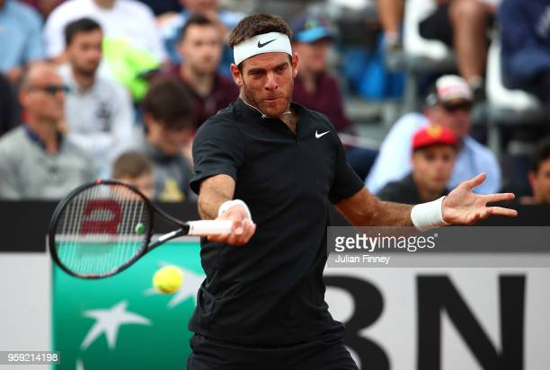 Juan Martin Del Potro of Argentina plays a forehand in his match against Stefanos Tsitsipas of Greece during day four of the Internazionali BNL...