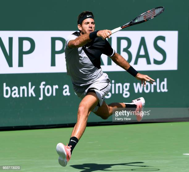 Juan Martin Del Potro of Argentina plays a running forehand in his victory over Roger Federer of Switzerland in the ATP final during the BNP Paribas...