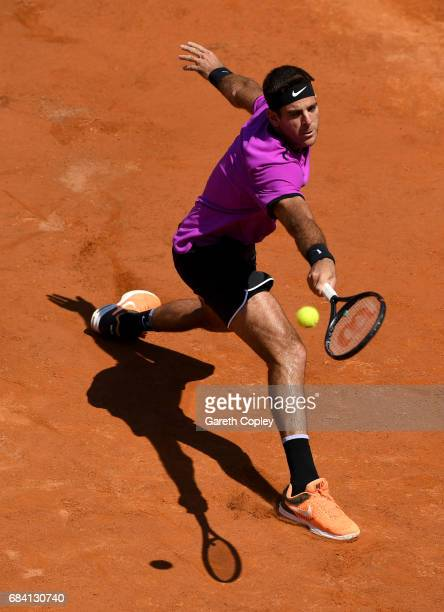 Juan Martin Del Potro of Argentina plays a shot during his second round match against Kyle Edmund of Great Britain in The Internazionali BNL d'Italia...
