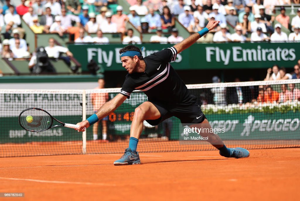 Juan Martin del Potro of Argentina plays a shot in his Men's Singles Semi Final match against Rafael Nadal of Spain during day thirteen of the 2018 French Open at Roland Garros on June 8, 2018 in Paris, France.