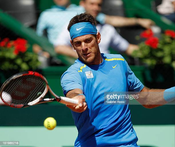 Juan Martin Del Potro of Argentina plays a shot in the first Davis Cup semi-final match between Argentina and Czech Republic at Mary Ter‡an de Weiss...