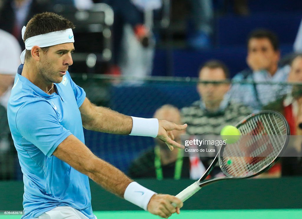Juan Martin Del Potro of Argentina plays backhand against Marin Cilic of Croatia in the fourth match of the 2016 Davis Cup Final between Croatia and Argentina on November 27, 2016 in Zagreb, Croatia.