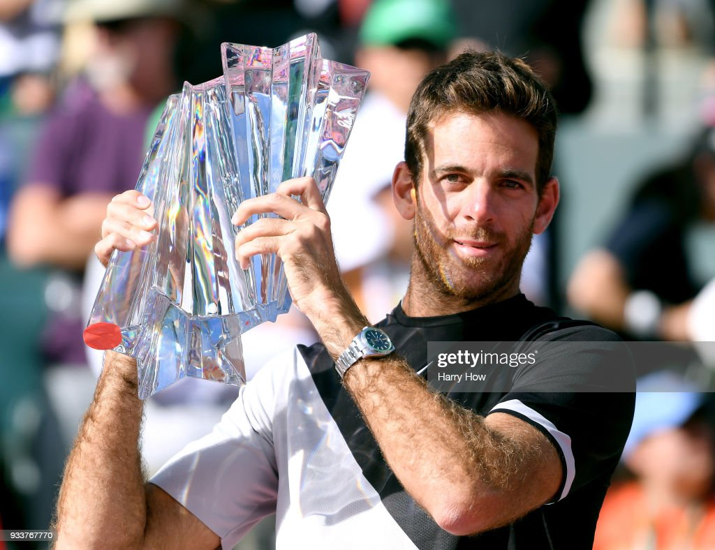 Juan Martin Del Potro of Argentina poses with the trophy after his victory over Roger Federer of Switzerland in the ATP final during the BNP Paribas Open at the Indian Wells Tennis Garden on March 18, 2018 in Indian Wells, California.