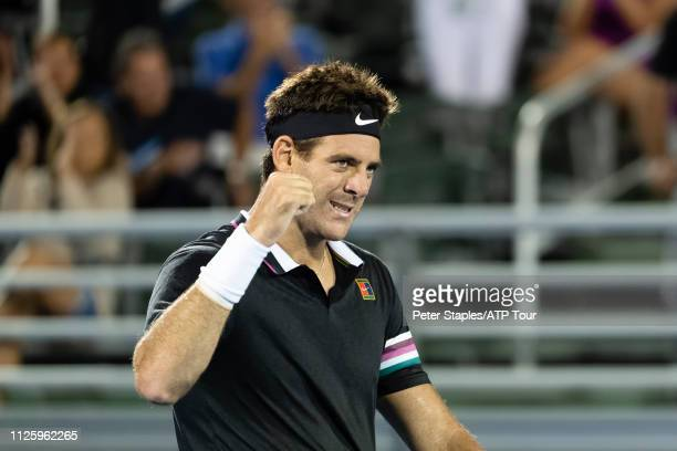 Juan Martin Del Potro of Argentina pumps his fist after match point against Yoshihito Nishioka of Japan at the Delray Beach Open held at the Delray...