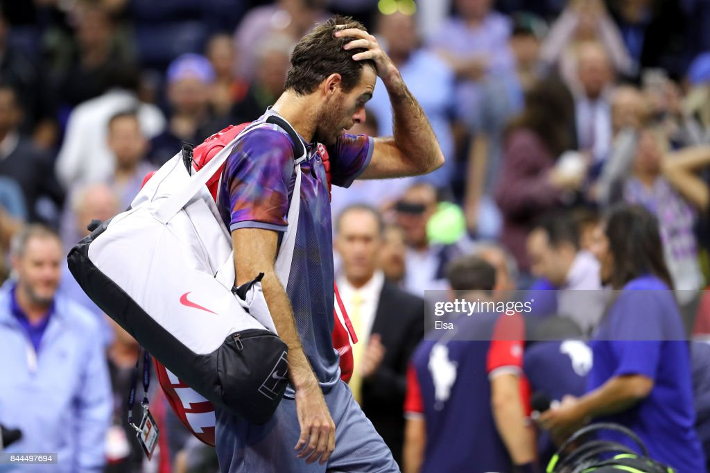 Juan Martin del Potro of Argentina reacts after being defeated by Rafael Nadal of Spain after their Men's Singles Semifinal match on Day Twelve of the 2017 US Open at the USTA Billie Jean King National Tennis Center on September 8, 2017 in the Flushing neighborhood of the Queens borough of New York City. Rafael Nadal defeated Juan Martin del Potro in the fourth set with a score of 4-6, 6-0, 6-3, 6-2.
