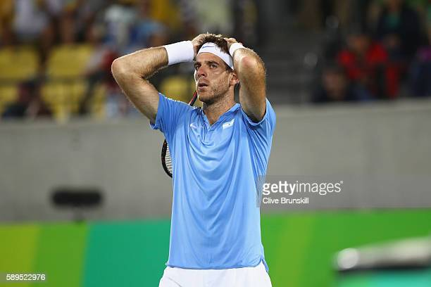 Juan Martin Del Potro of Argentina reacts after defeat in the men's singles gold medal match against Andy Murray of Great Britain on Day 9 of the Rio...