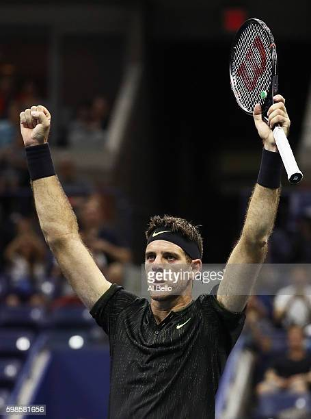 Juan Martin del Potro of Argentina reacts after defeating Steve Johnson of the United States during his second round Men's Singles match on Day Four...