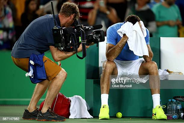 Juan Martin Del Potro of Argentina reacts after victory against Novak Djokovic of Serbia in their singles match on Day 2 of the Rio 2016 Olympic...