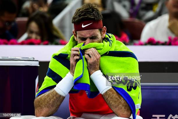 Juan Martin Del Potro of Argentina reacts against Nikoloz Basilashvili of Georgia during his Men's Singles Finals match in the 2018 China Open at the...