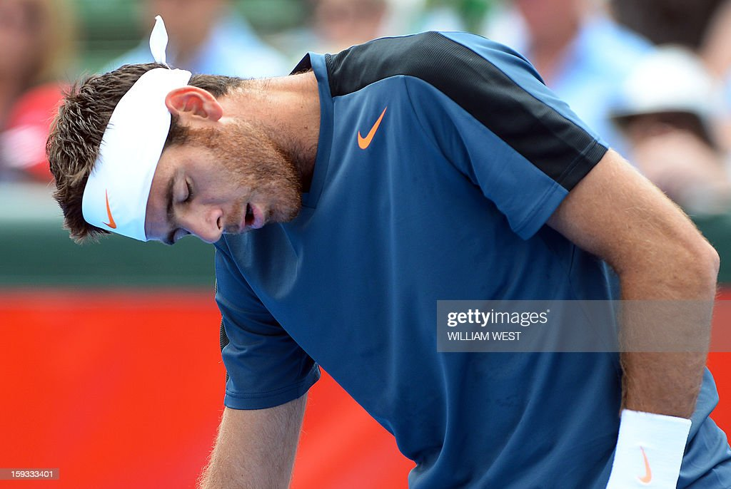 Juan Martin Del Potro of Argentina reacts during his loss to Lleyton Hewitt of Australia in the final of the Kooyong Classic in Melbourne on January 12, 2013. AFP PHOTO/William WEST IMAGE