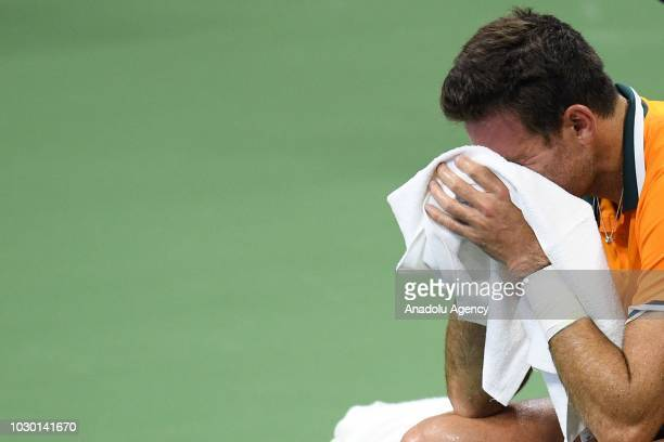Juan Martin Del Potro of Argentina reacts during his men's singles finals match against Novak Djokovic of Serbia at US Open 2018 in New York United...
