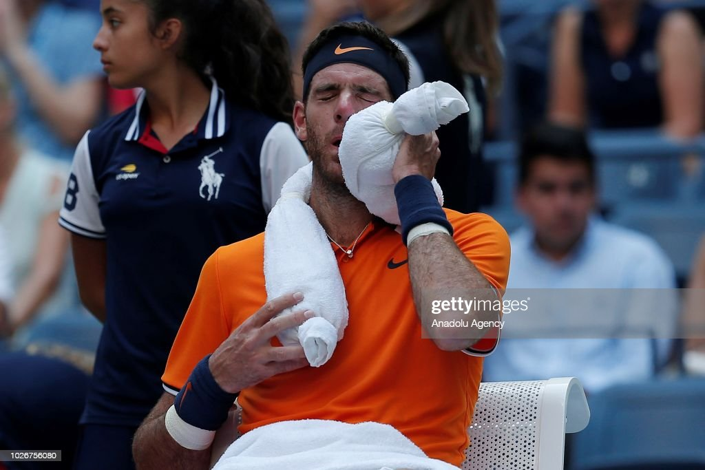 Juan Martin Del Potro of Argentina reacts during the men's singles quarter-final match against John Isner of USA on Day Nine of the 2018 US Open in New York, United States on September 4, 2018.