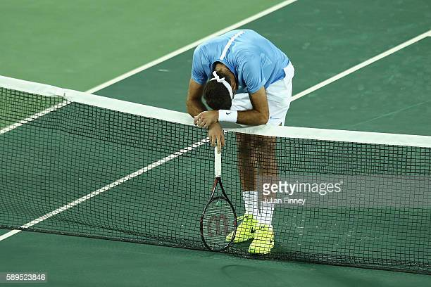 Juan Martin Del Potro of Argentina reacts during the men's singles gold medal match against Andy Murray of Great Britain on Day 9 of the Rio 2016...
