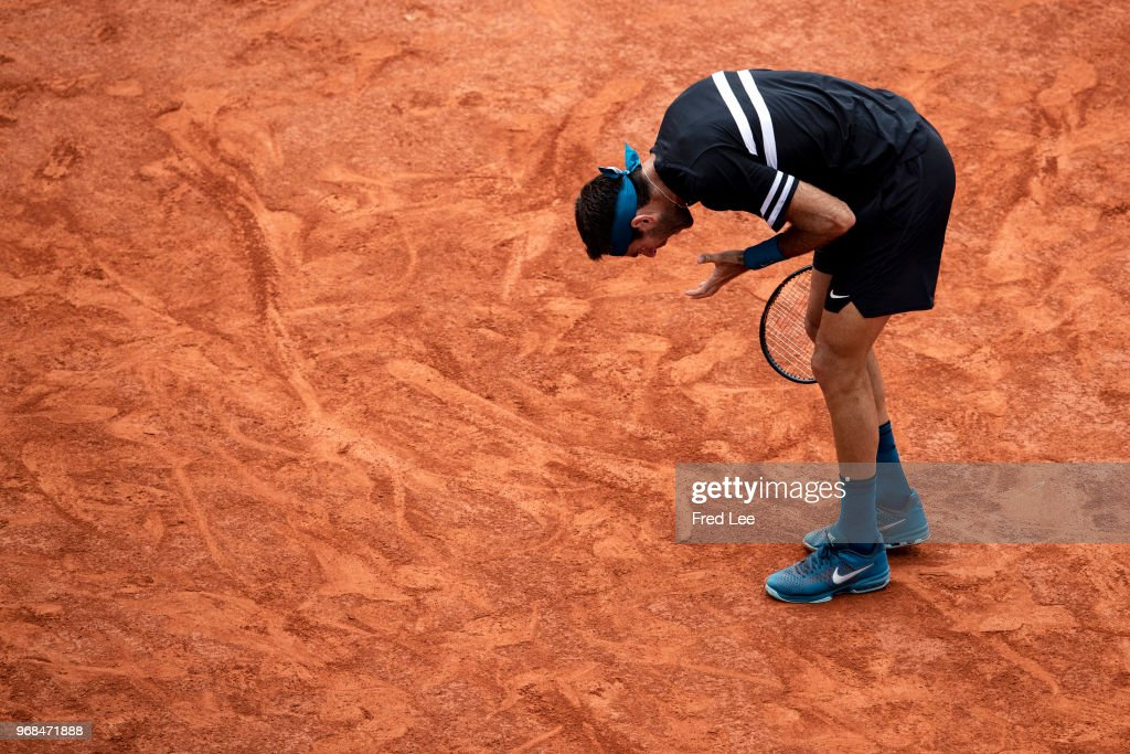 Juan Martin Del Potro of Argentina reacts in the men's singles quarter finals match against Marin Cilic of Croatia during day eleven of the 2018 French Open at Roland Garros on June 6, 2018 in Paris, France.
