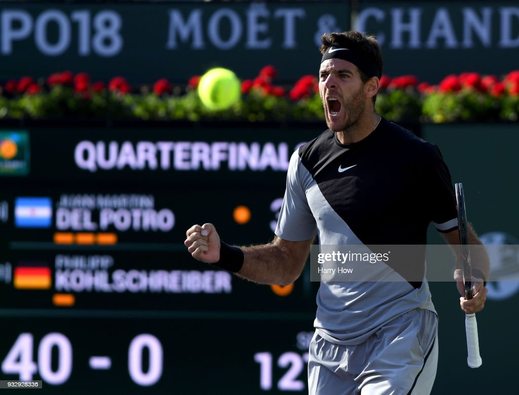 Juan Martin Del Potro of Argentina reacts to match point over Philipp Kohlschreiber of Germany during the BNP Paribas Open at the Indian Wells Tennis Garden on March 16, 2018 in Indian Wells, California.