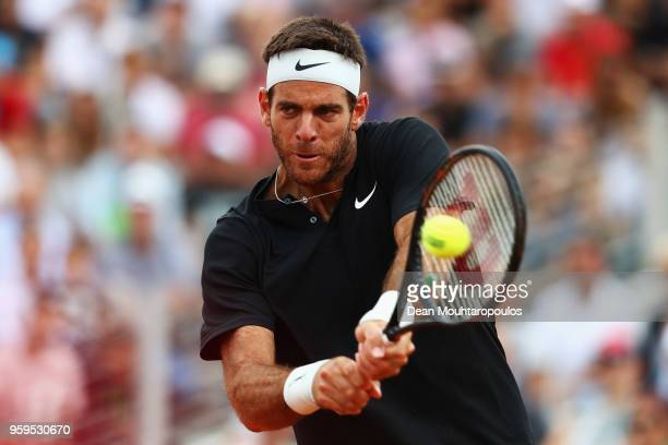 Juan Martin del Potro of Argentina returns a backhand in his match against David Goffin of Belgium during day 5 of the Internazionali BNL d'Italia...