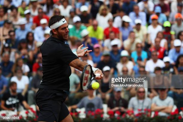 Juan Martin del Potro of Argentina returns a forehand in his match against David Goffin of Belgium during day 5 of the Internazionali BNL d'Italia...