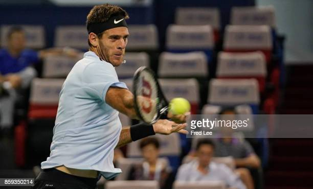 Juan Martin del Potro of Argentina returns a shot against Nikoloz Basilashvili of Georgia during the First Round on Day 2 of 2017 ATP 1000 Shanghai...