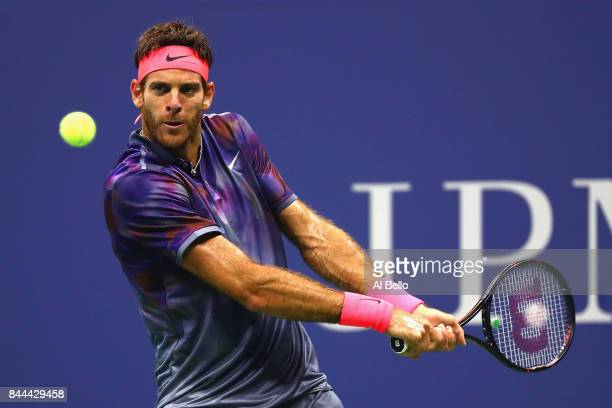 Juan Martin del Potro of Argentina returns a shot against Rafael Nadal of Spain during their Men's Singles Semifinal match on Day Twelve of the 2017...