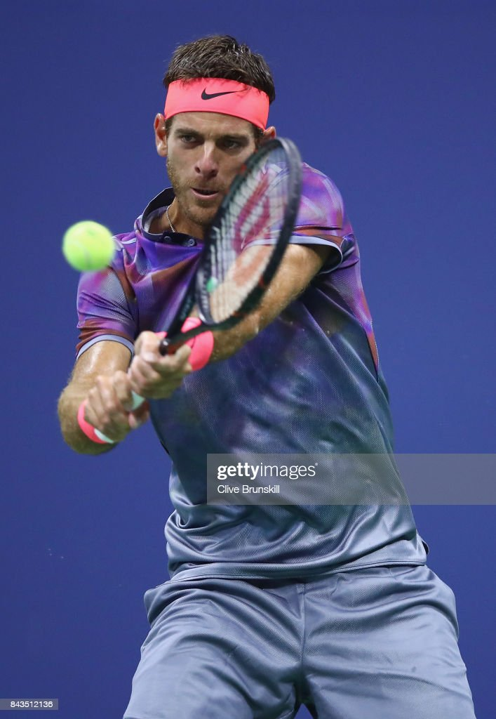 Juan Martin del Potro of Argentina returns a shot against Roger Federer of Switzerland during their Men's Singles Quarterfinal match on Day Ten of the 2017 US Open at the USTA Billie Jean King National Tennis Center on September 6, 2017 in the Flushing neighborhood of the Queens borough of New York City.