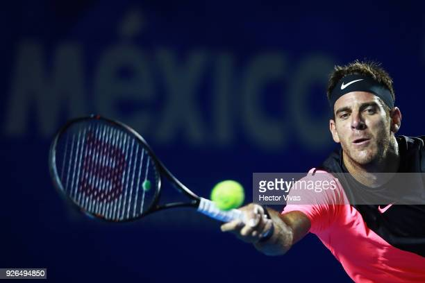 Juan Martin del Potro of Argentina returns a shot during the match between Juan Martin del Potro of Argentina and Dominic Thiem of Austria as part of...