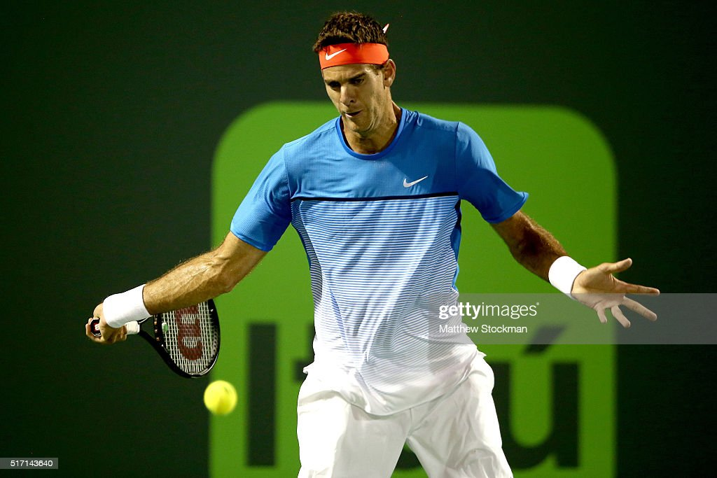 Juan Martin Del Potro of Argentina returns a shot to Guido Pella of Argentina during the Miami Open presented by Itau at Crandon Park Tennis Center on March 23, 2016 in Key Biscayne, Florida.