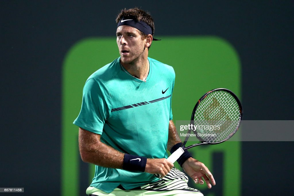 Juan Martin Del Potro of Argentina returns a shot to Robin Hasse of Netherlands during the Miami Open at the Crandon Park Tennis Center on March 25, 2017 in Key Biscayne, Florida.