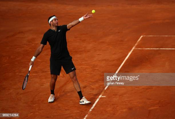 Juan Martin Del Potro of Argentina serrves to Stefanos Tsitsipas of Greece during day four of the Internazionali BNL d'Italia 2018 tennis at Foro...