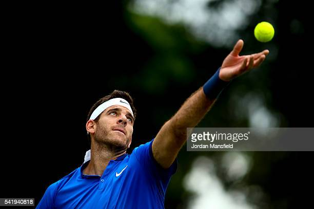 Juan Martin del Potro of Argentina serves during his match against Borna Coric of Croatia during day one of The Boodles Tennis Event at Stoke Park on...