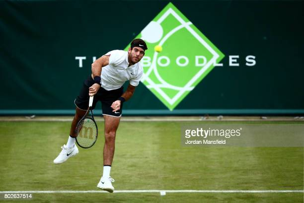 Juan Martin del Potro of Argentina serves during his match against Gilles Simon of France during day two of The Boodles Tennis Event at Stoke Park on...