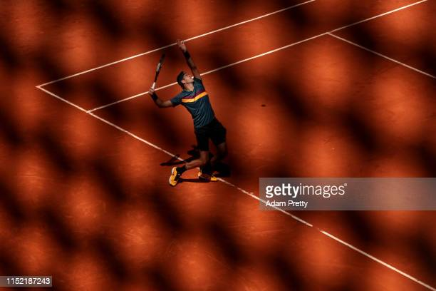 Juan Martin Del Potro of Argentina serves during his mens singles first round match against Nicolas Jarry of Chile during Day three of the 2019...