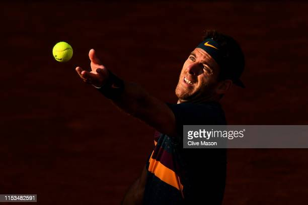 Juan Martin Del Potro of Argentina serves during his mens singles fourth round match against Karen Khachanov of Russia during Day nine of the 2019...