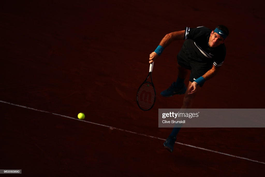 Juan Martin Del Potro of Argentina serves during the mens singles first round match against Nicolas Mahut of France during day three of the 2018 French Open at Roland Garros on May 29, 2018 in Paris, France.