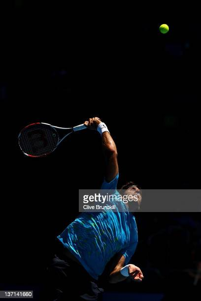 Juan Martin Del Potro of Argentina serves in his first round match against Adrian Mannarino of France during day one of the 2012 Australian Open at...