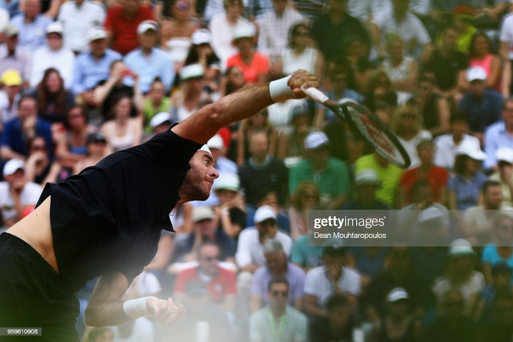 Juan Martin del Potro of Argentina serves in his match against David Goffin of Belgium during day 5 of the Internazionali BNL d'Italia 2018 tennis at Foro Italico on May 17, 2018 in Rome, Italy.