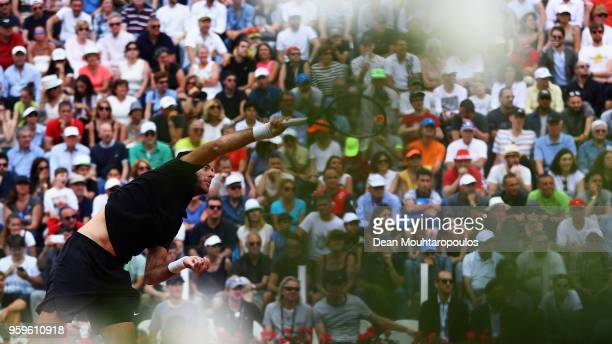 Juan Martin del Potro of Argentina serves in his match against David Goffin of Belgium during day 5 of the Internazionali BNL d'Italia 2018 tennis at...