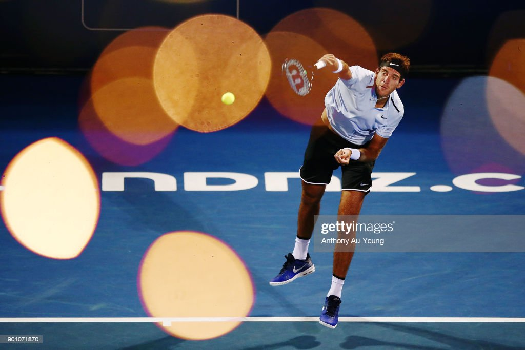 Juan Martin del Potro of Argentina serves in his semi final match against David Ferrer of Spain during day five of the 2018 ASB Men's Classic at the ASB Tennis Centre on January 12, 2018 in Auckland, New Zealand.