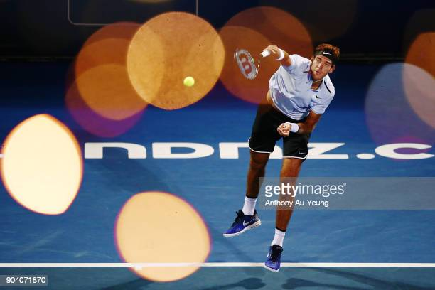 Juan Martin del Potro of Argentina serves in his semi final match against David Ferrer of Spain during day five of the 2018 ASB Men's Classic at the...
