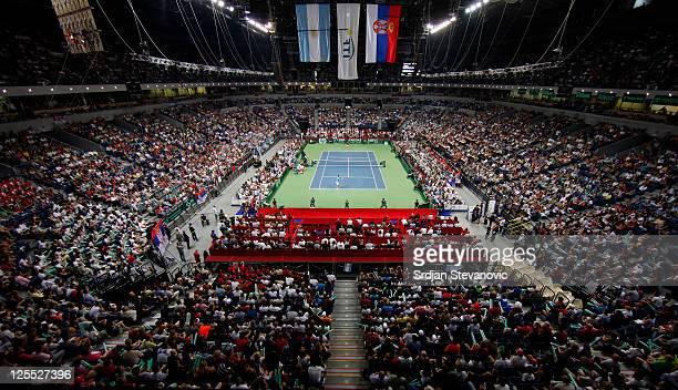 Juan Martin Del Potro of Argentina serves to Novak Djokovic of Serbia during the Davis Cup singles semi final between Serbia and Argentina, at...