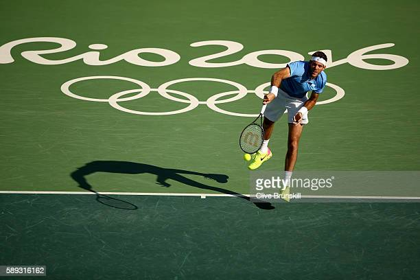 Juan Martin Del Potro of Argentina serves to Rafael Nadal of Spain during the Men's Singles Semifinal Match on Day 8 of the Rio 2016 Olympic Games at...