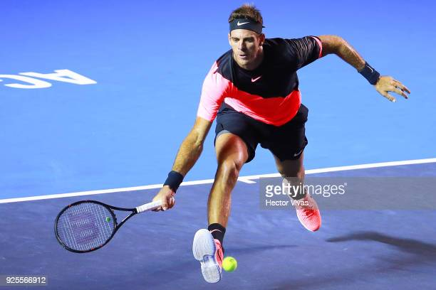 Juan Martin del Potro of Argentina takes a forehand shot during a match between Juan Martin del Potro of Argentina and Mischa Zverev of Germany as...
