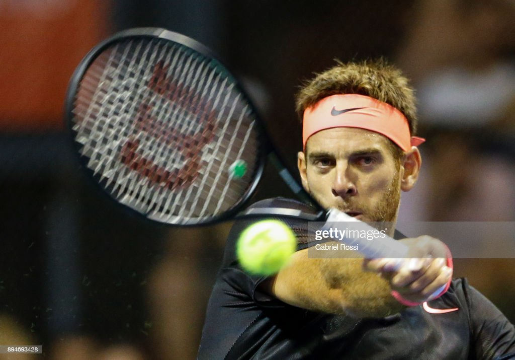 Juan Martin Del Potro of Argentina takes a forehand shot during an exhibition match between Juan Martin Del Potro and Nick Kyrgios at Luna Park on December 15, 2017 in Buenos Aires, Argentina.
