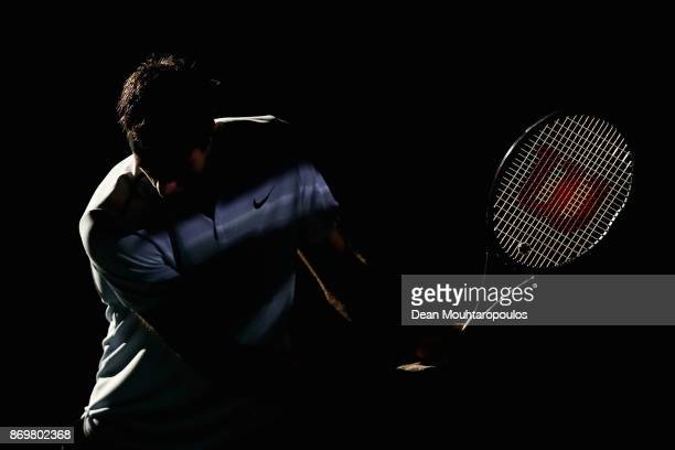 Juan Martin del Potro of Argentina warms up prior to his match against John Isner of the USA during Day 5 of the Rolex Paris Masters held at the...